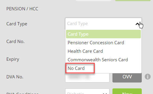 No Pension Number Visibility Screenshot